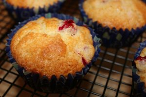 berry muffins on cooling rack